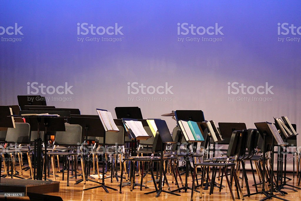 Stage arranged with Band Concert Equipment stock photo