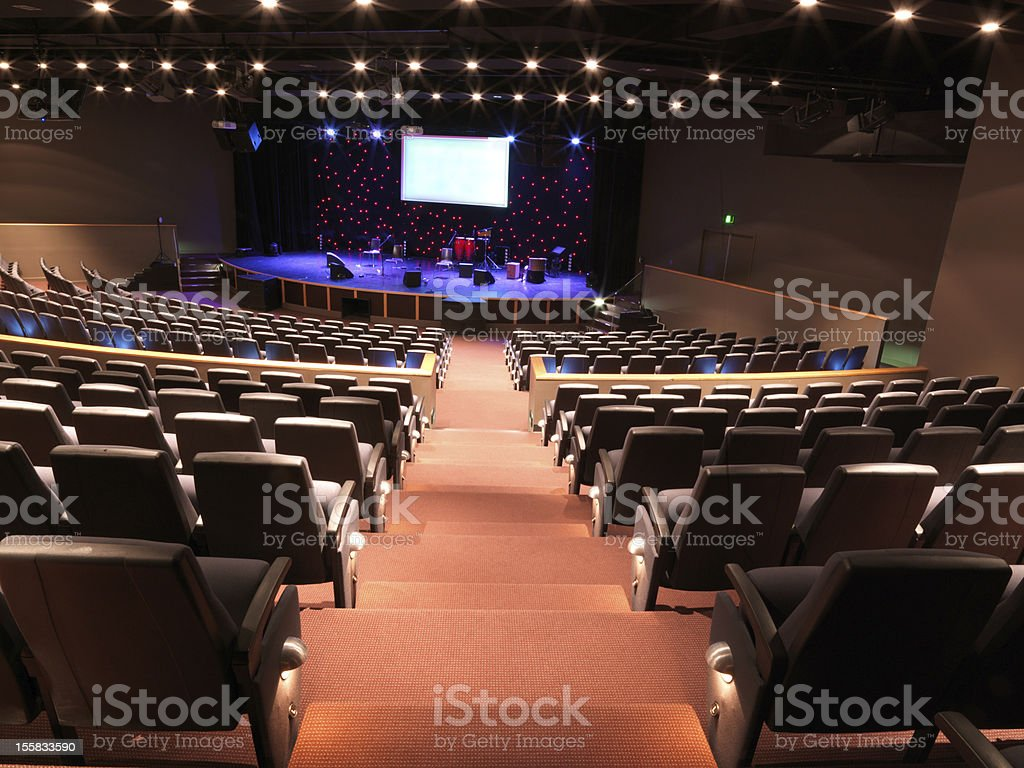 Stage cinema view from back of auditorium stock photo