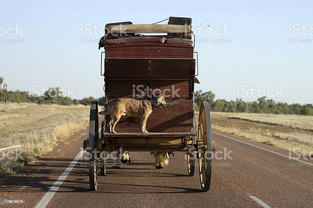 Stage Coach on Highway stock photo