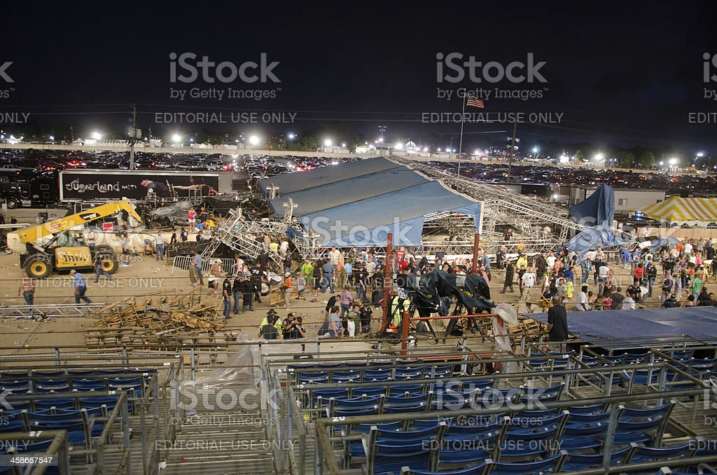 Stage collapses at Indiana State Fair stock photo