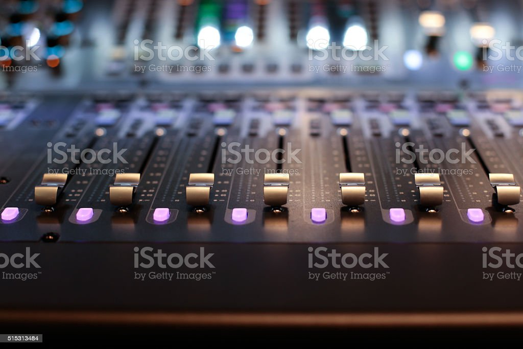 Stage controller with sliders stock photo