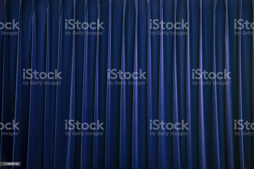 stage curtain blue velvet royalty-free stock photo