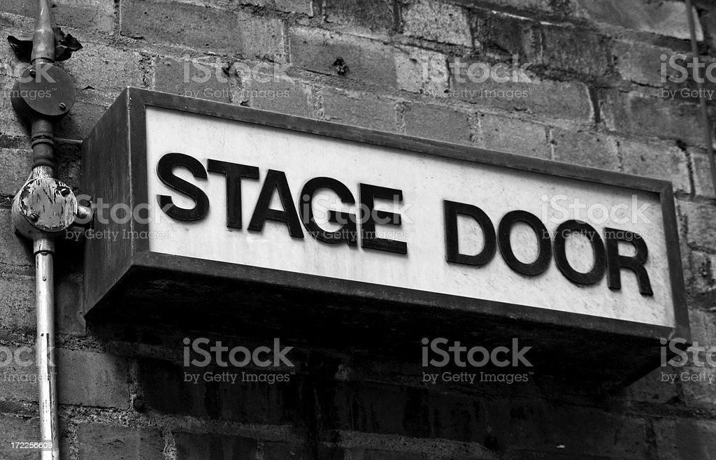 Stage Door - Old fashioned entrance sign stock photo