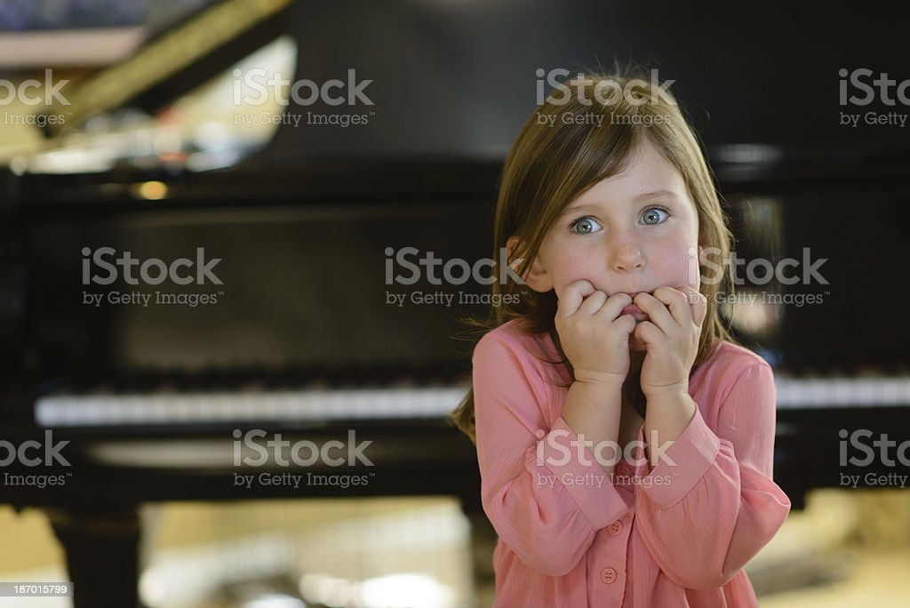 Stage Fright - Fretting about Music Lessons stock photo