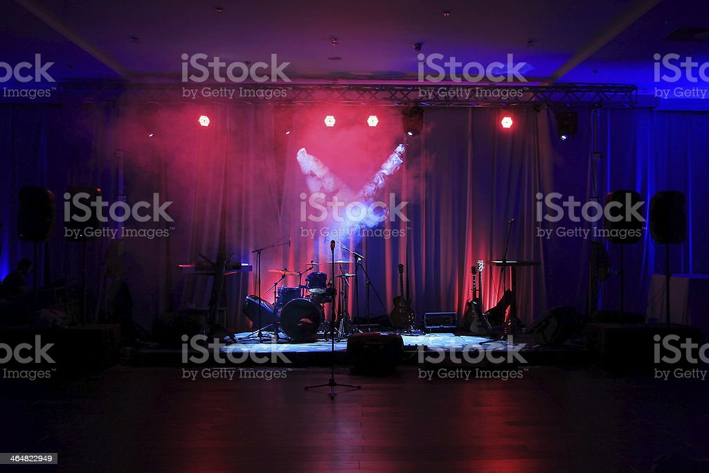 Stage in Lights before concert, stock photo