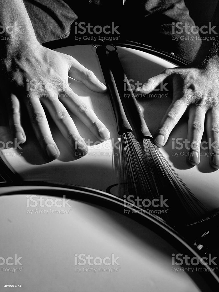 Stage in Lights before jazz band drummer concert stock photo