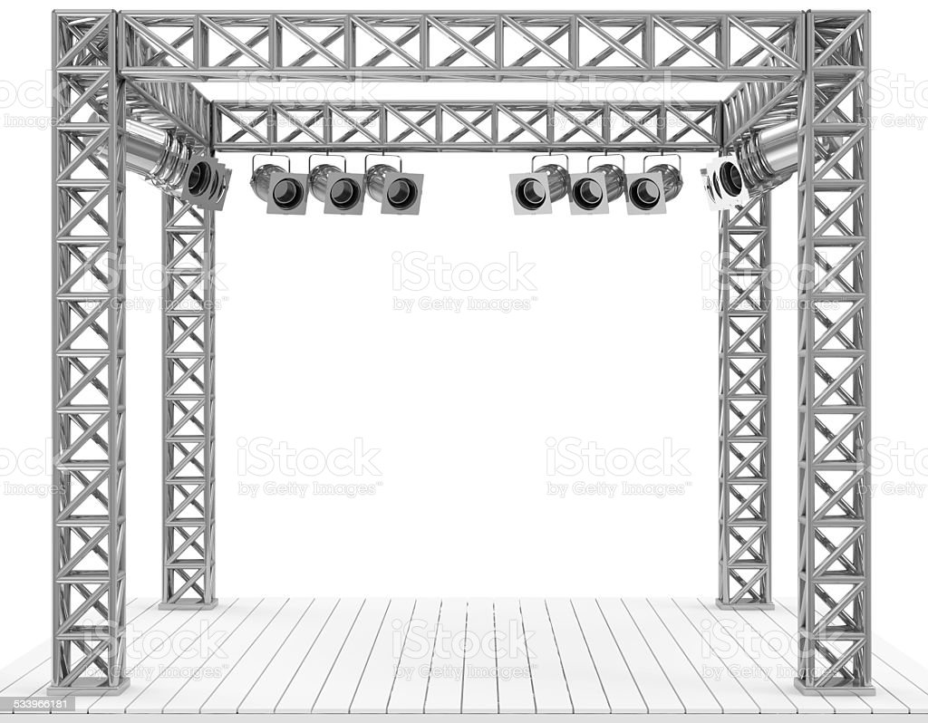 Stage Interior with Spotlights isolated on white background stock photo