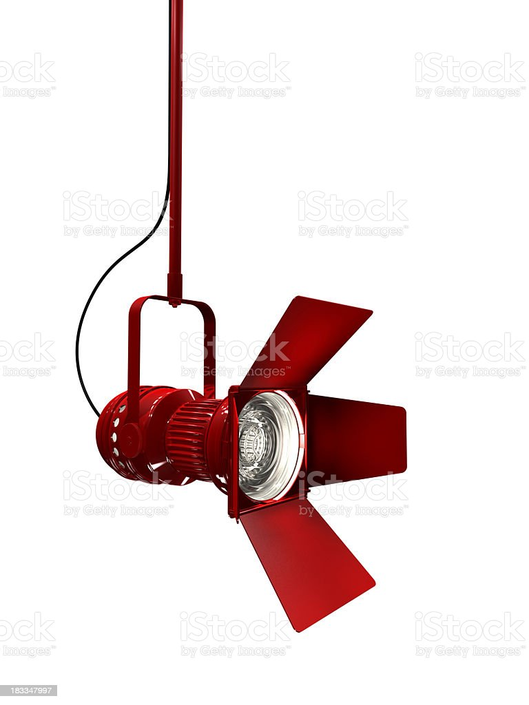 Stage light with red painted housing royalty-free stock photo