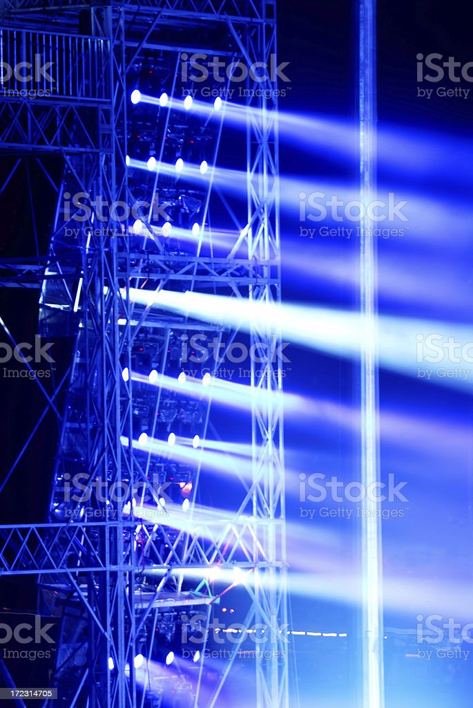 Stage lights blue stock photo