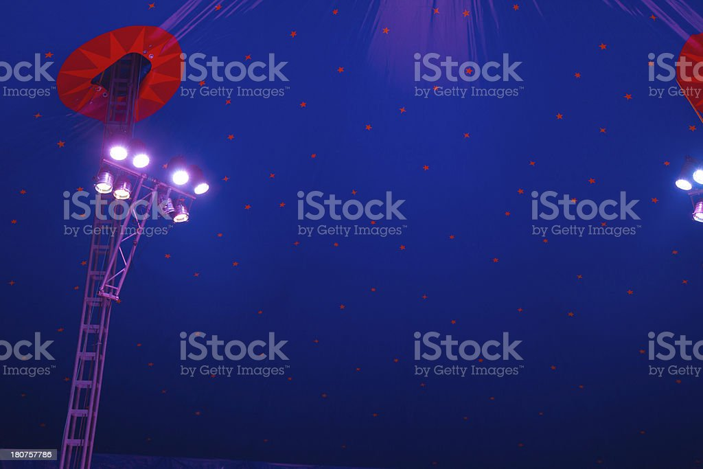 Stage lights in circus tent royalty-free stock photo