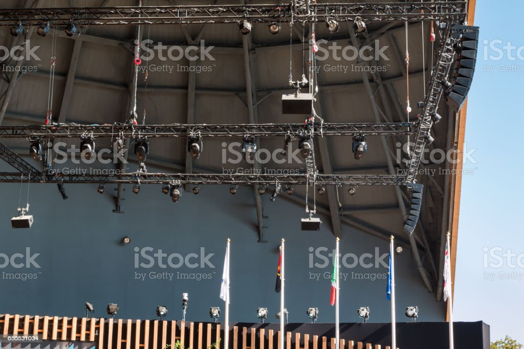 Stage Lights Rack with Spotlights stock photo