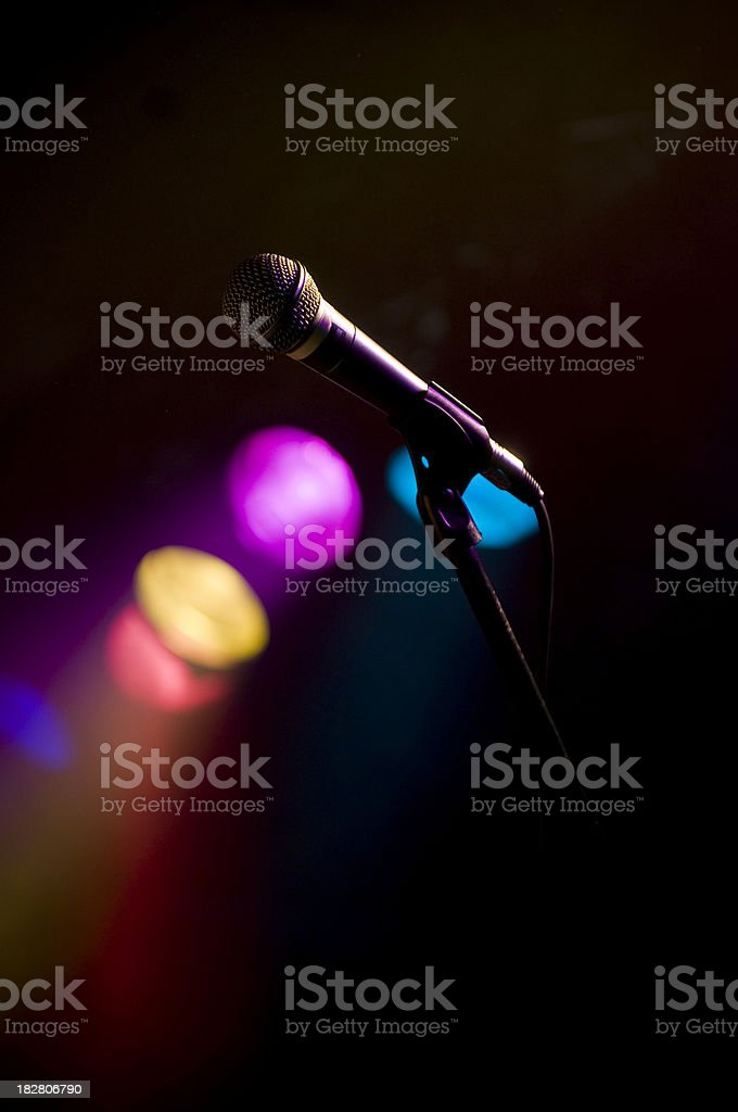 Stage Lights wih microphone royalty-free stock photo