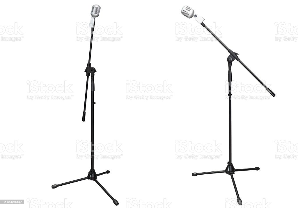 stage microphone isolated on white background stock photo