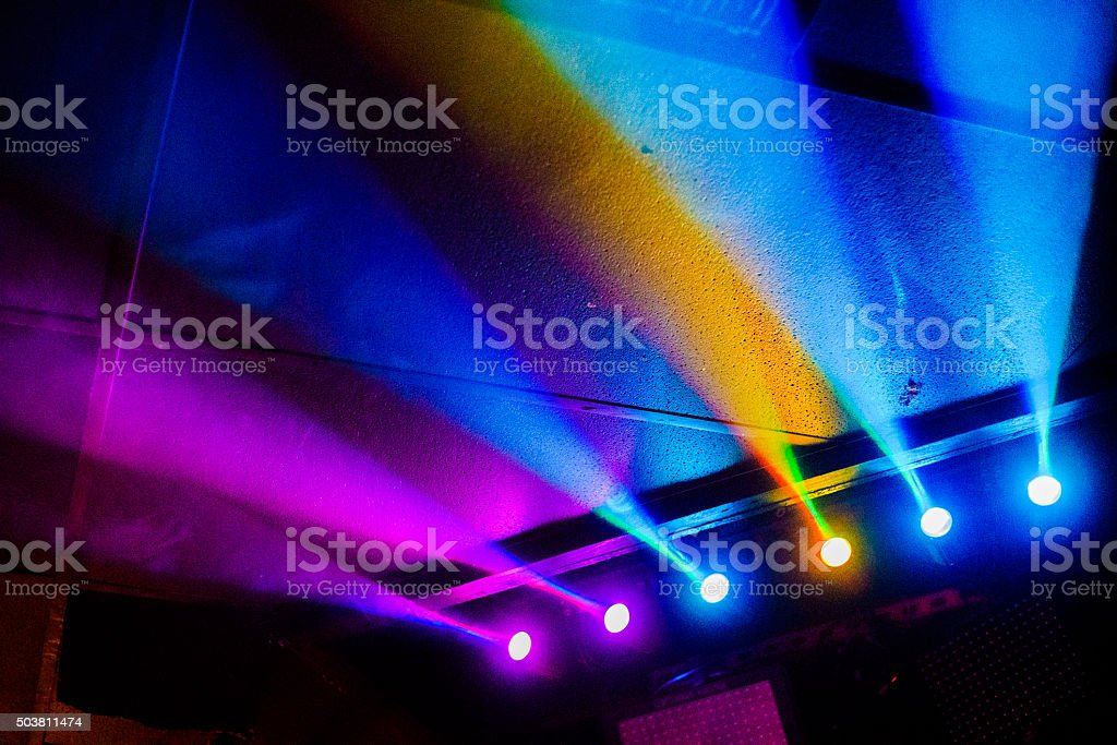 Stage multicolored lighting stock photo