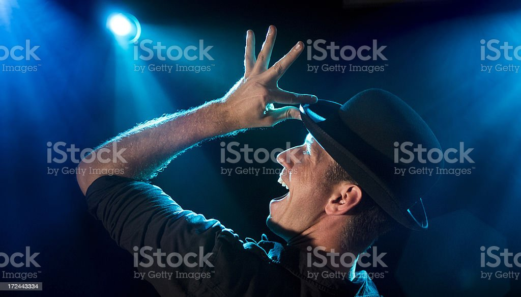 Stage Performer in Lights stock photo