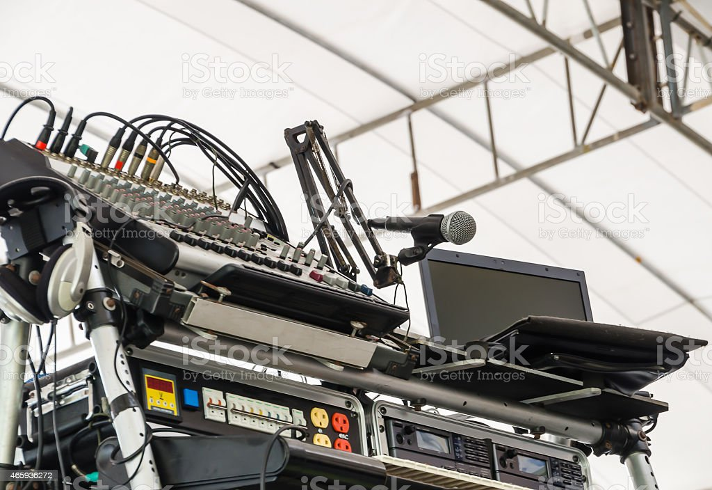 Stage set for music festival. stock photo