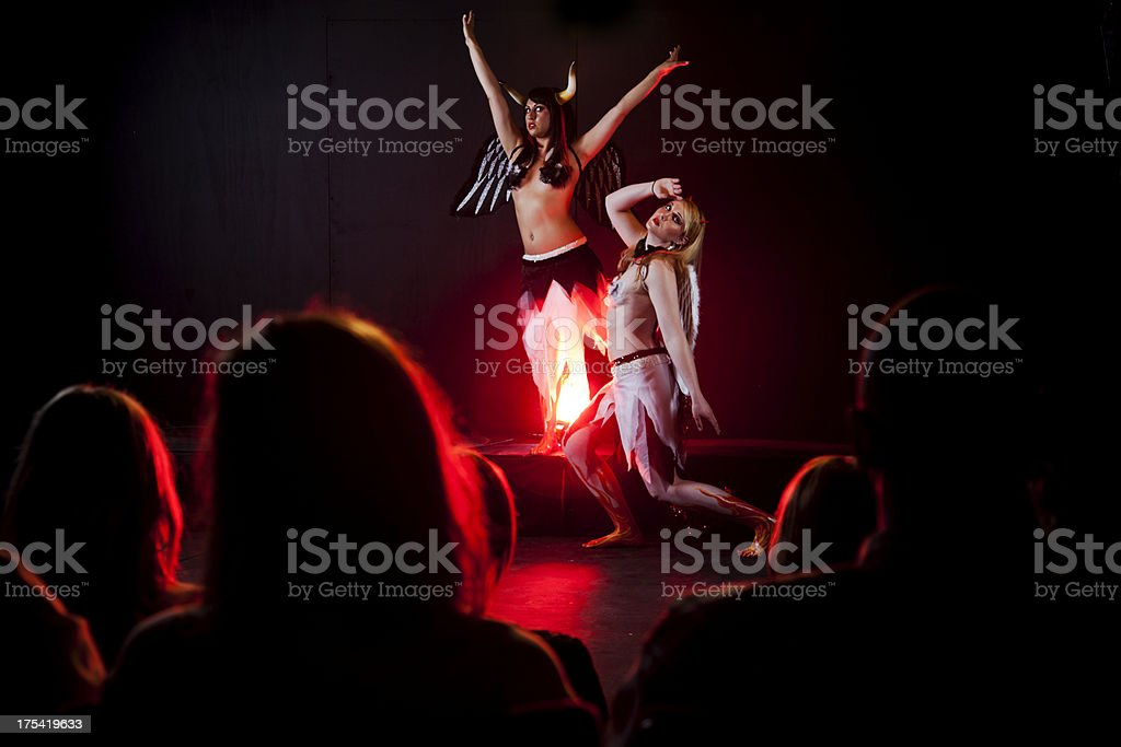 Stage theatrical performance with audience stock photo