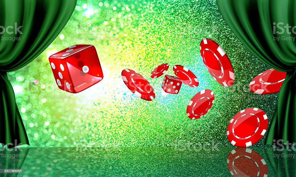 Stage with casino coins and dice stock photo