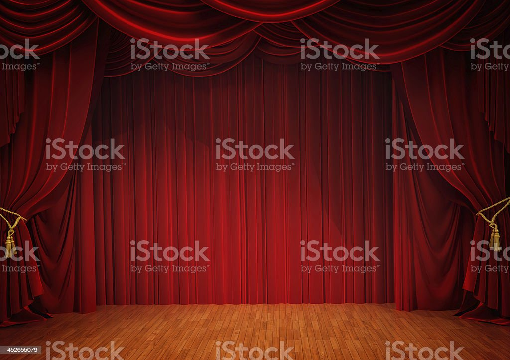 stage with red curtain stock photo