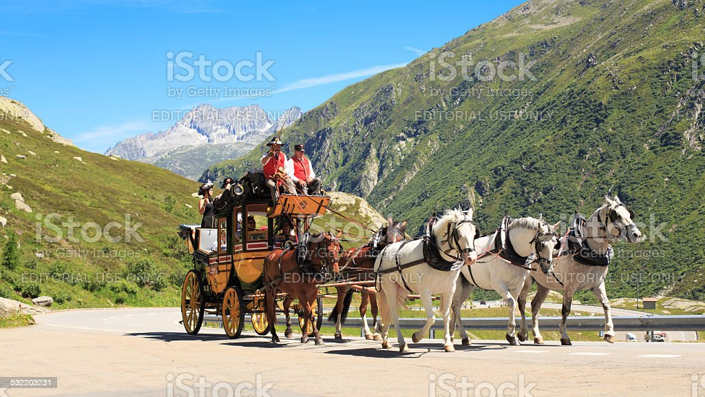 Stagecoach at St. Gotthard Alpine Pass stock photo
