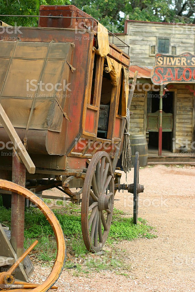 Stagecoach at the Saloon stock photo