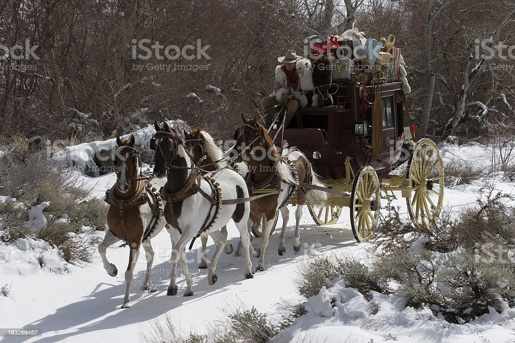 Stagecoach in the snow 04 stock photo