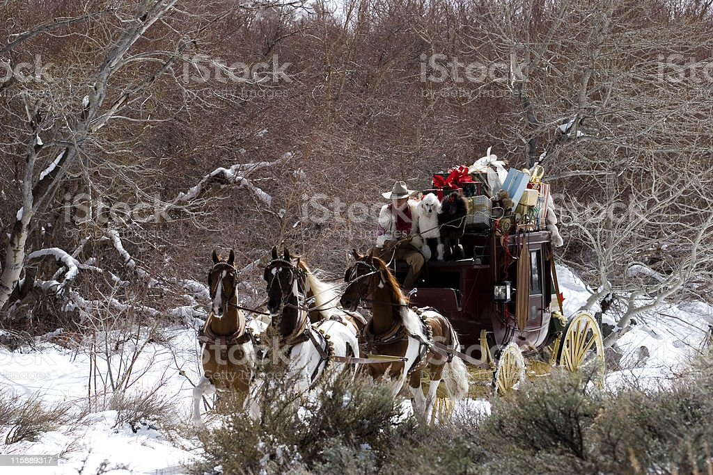 Stagecoach in the snow 06 stock photo