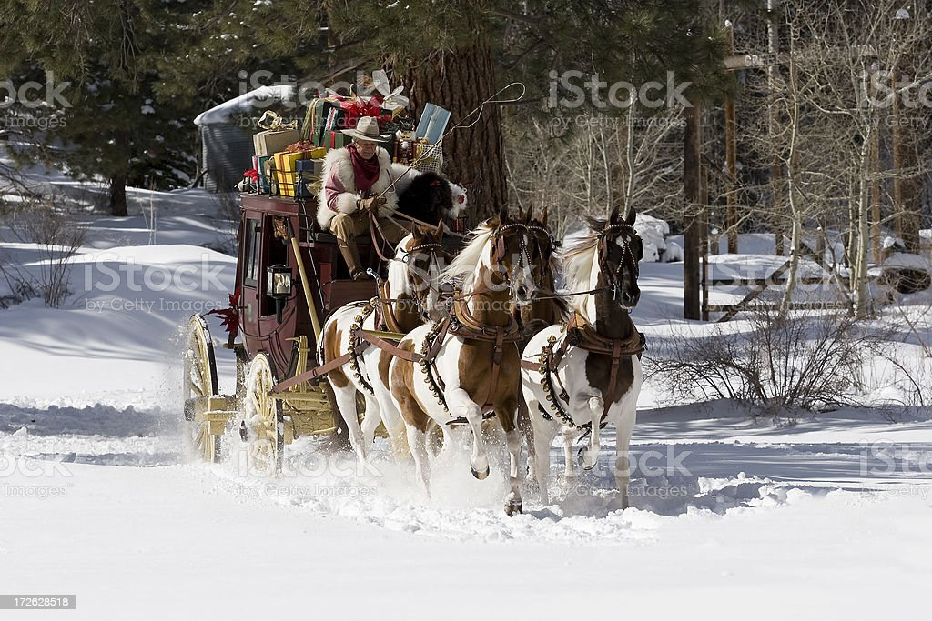 Stagecoach in the snow 08 stock photo