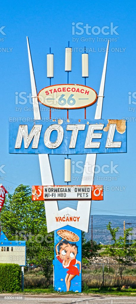 Stagecoach Motel Sign on Route 66 stock photo