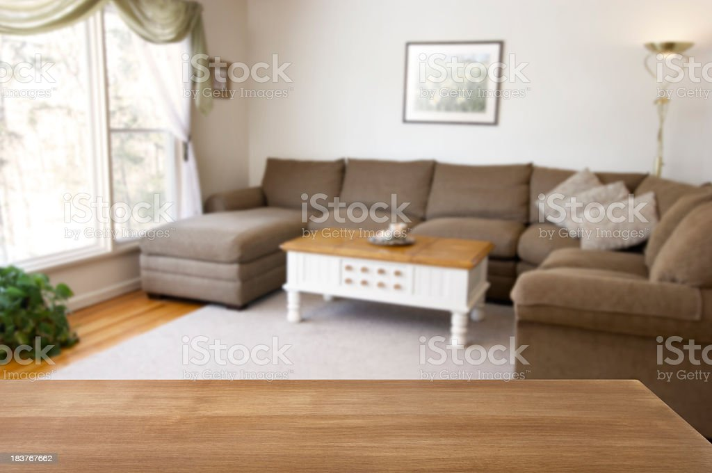 Staged modern living room on bright day stock photo