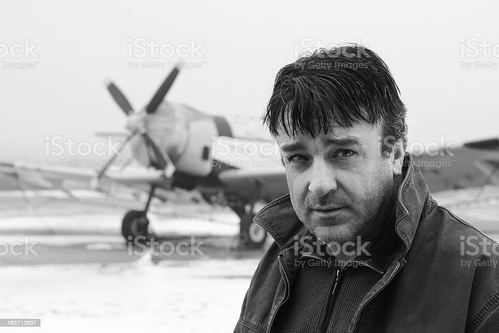 Stager aviator stock photo
