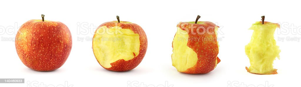 stages of eating apple stock photo