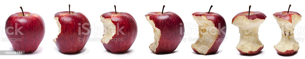 Stages of eating red apple royalty-free stock photo