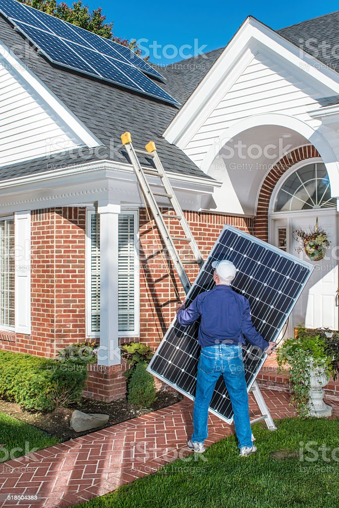 Staging Residential Photovoltaic Solar Panels stock photo