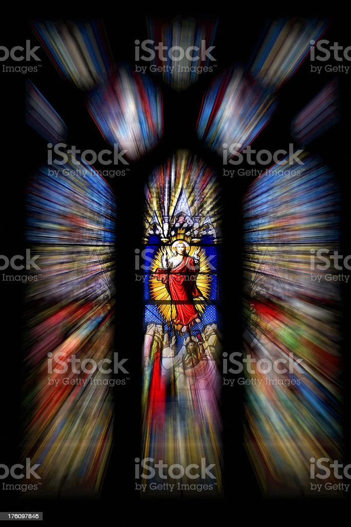 Stain glass window showing Jesus. royalty-free stock photo