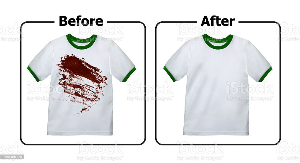 Stain Remover Experiment, Before and After Washing stock photo