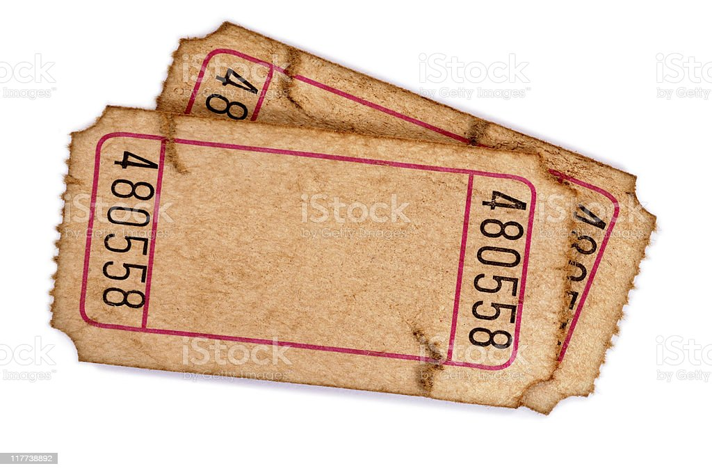 Stained blank admission tickets stock photo