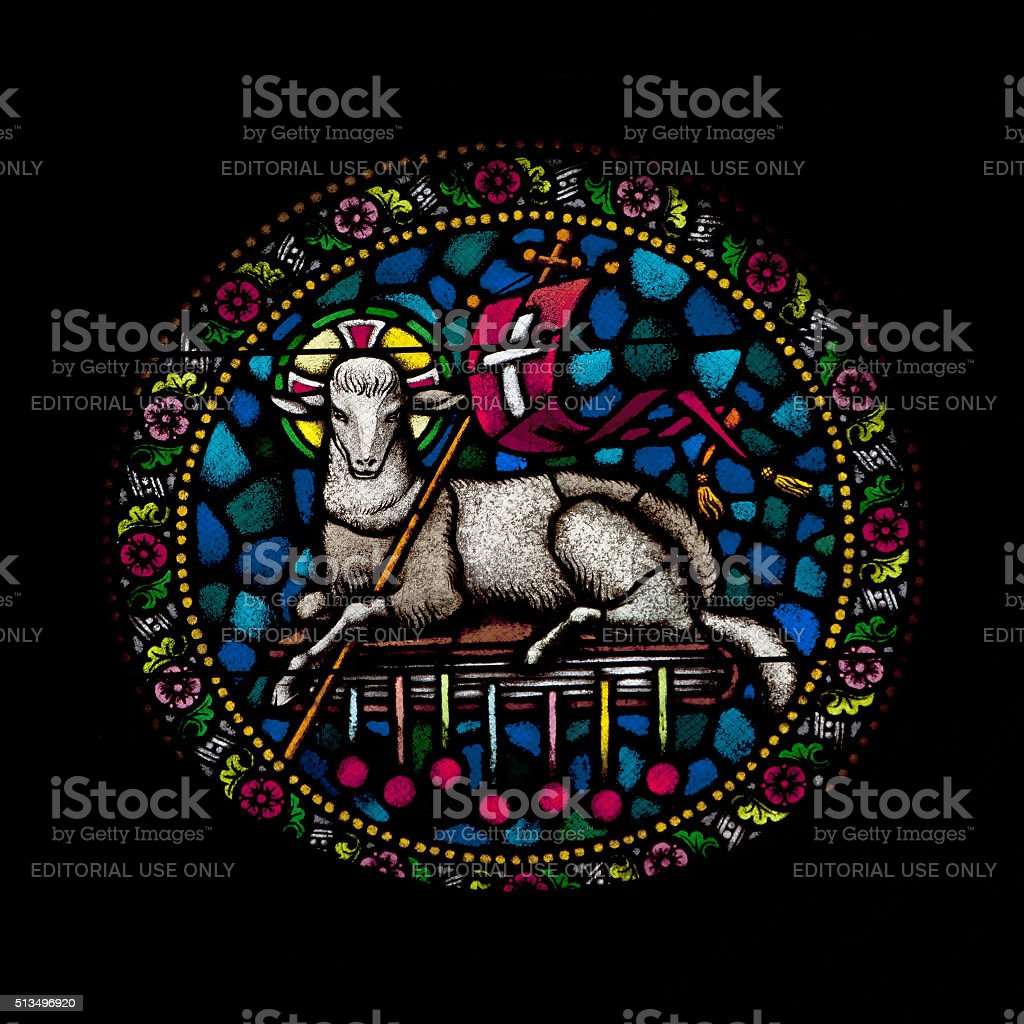 Stained Glass Agnus Dei stock photo
