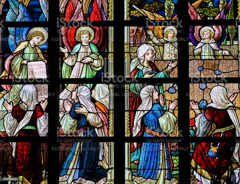 Stained Glass - Angels and Women stock photo