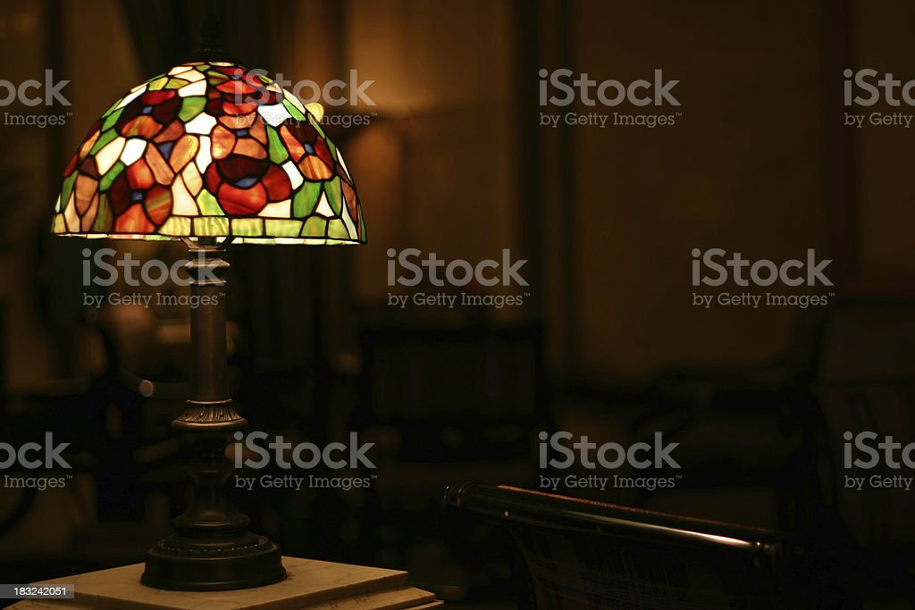 Stained Glass Antique Lamp stock photo