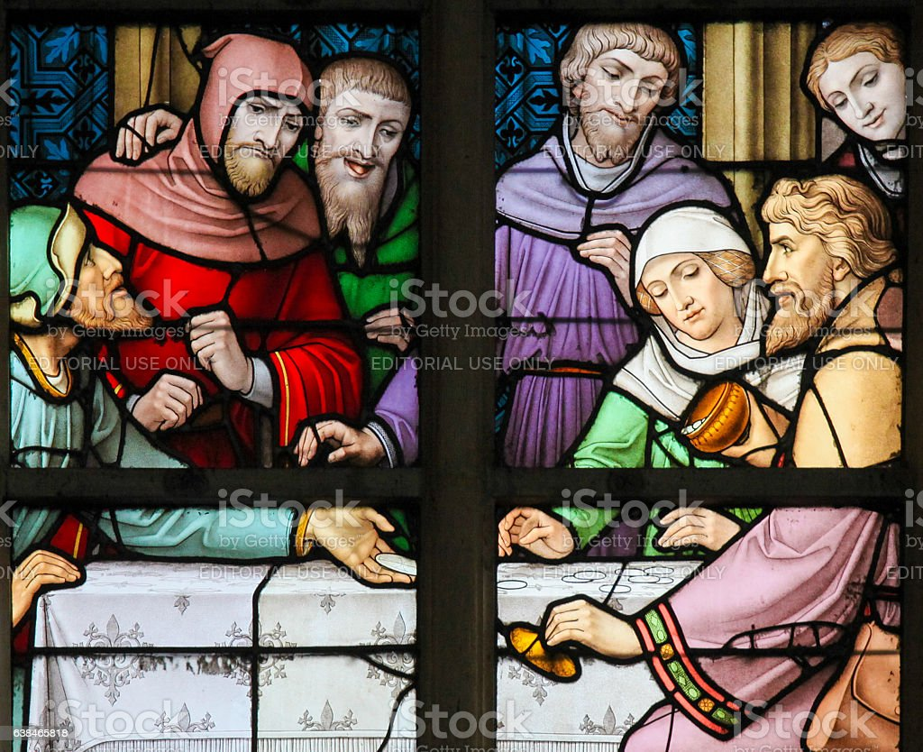 Stained Glass - Antisemitic stained glass in Brussels Cathedral stock photo