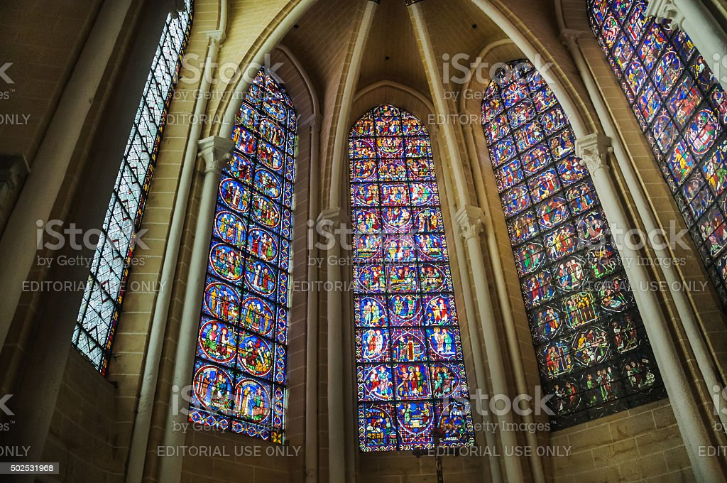Stained Glass Array-Chartres stock photo