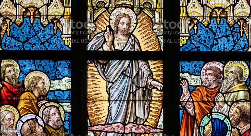 Stained Glass - Ascension of Jesus stock photo