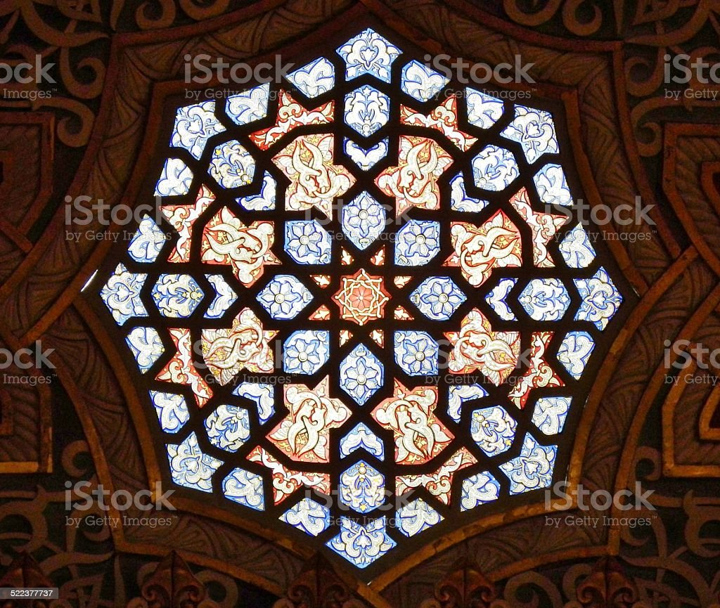 Stained Glass at Arabian Room stock photo