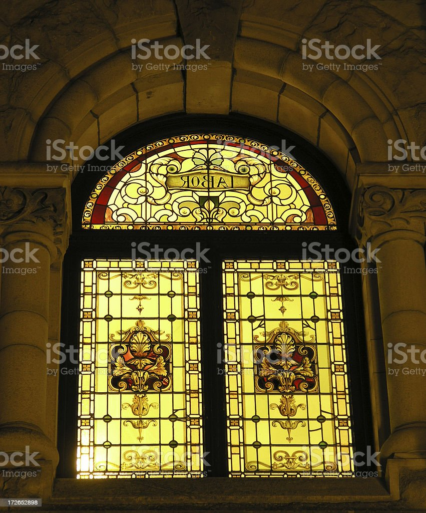 Stained Glass at Night stock photo