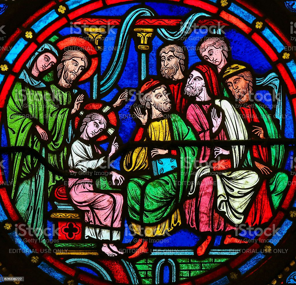 Stained Glass - Christ in the Temple in Jerusalem stock photo
