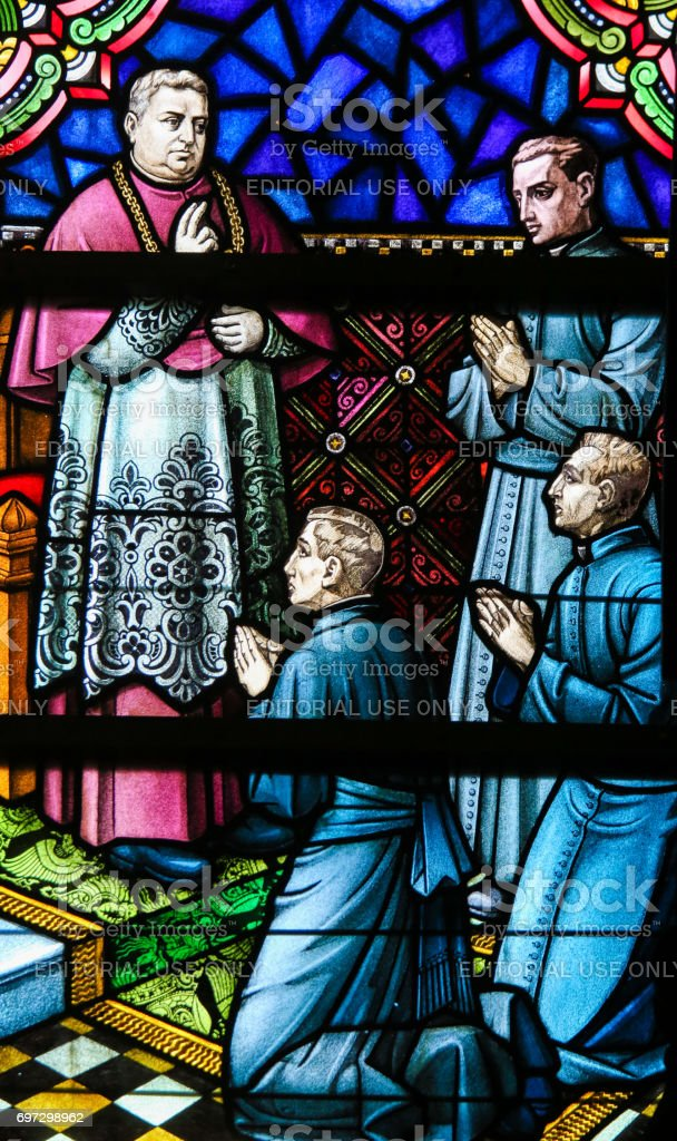 Stained Glass - Christianization of Kongo stock photo