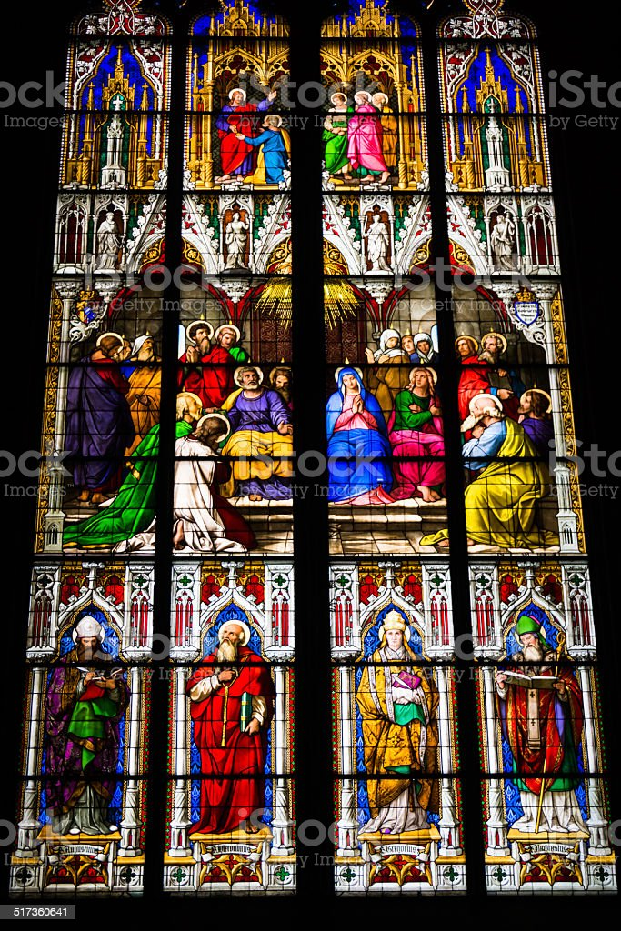 COLOGNE, GERMANY - SEPTEMBER 21: Stained glass church window wit stock photo