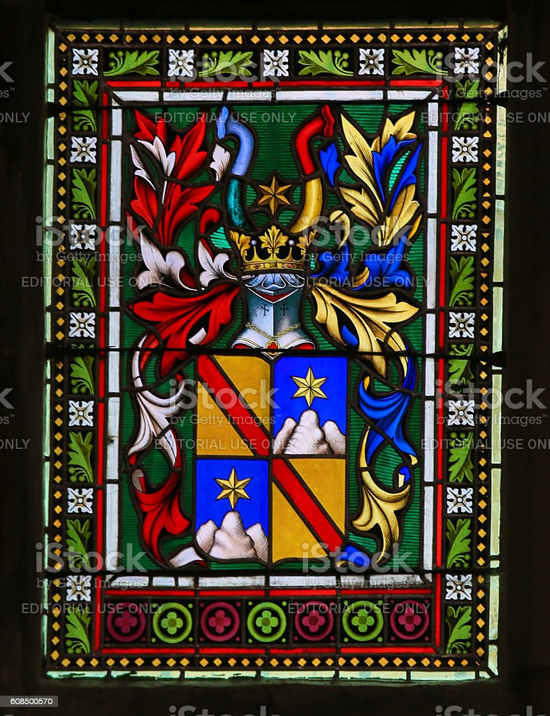 Stained Glass - Coat of Arms in Prague Cathedral stock photo