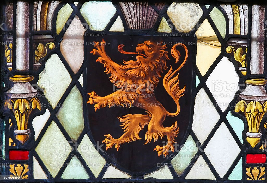 Stained Glass - Coat of Arms of Brabant stock photo